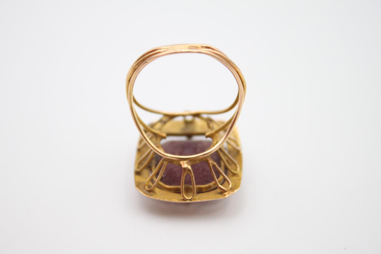 15ct rose gold amethyst paste cocktail ring 5.4g Size P - Image 5 of 5