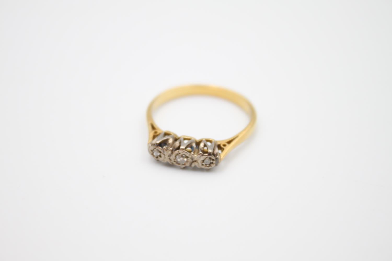 vintage 18ct gold diamond trilogy ring 2.7g Size M