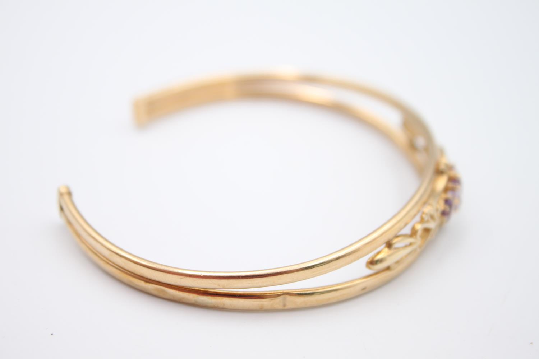 vintage 9ct gold amethyst set torque bangle 6.3g - Image 4 of 5