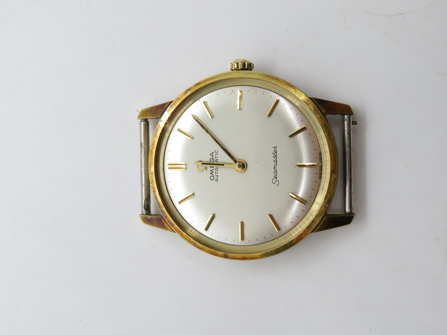 Omega seamster gents vintage gold tone wristwatch head only. hand wind