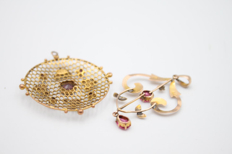 antique 9ct gold pendants inc. pearl, garnet 4.8g - Image 5 of 5