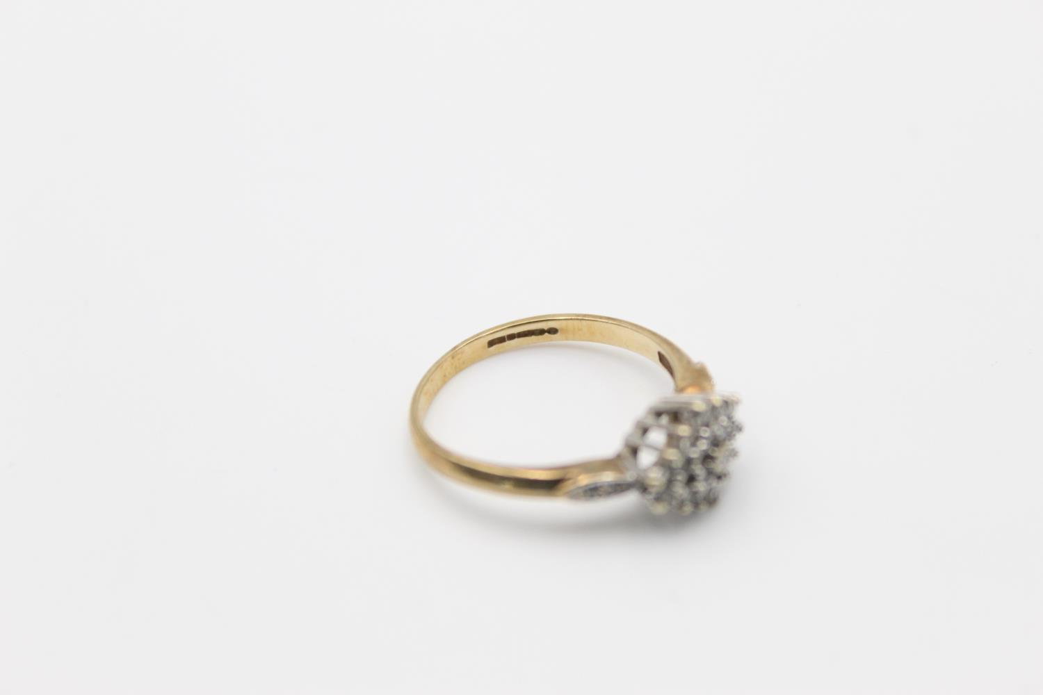 Vintage 9ct Gold diamond cluster ring 2.5g Size p - Image 5 of 5