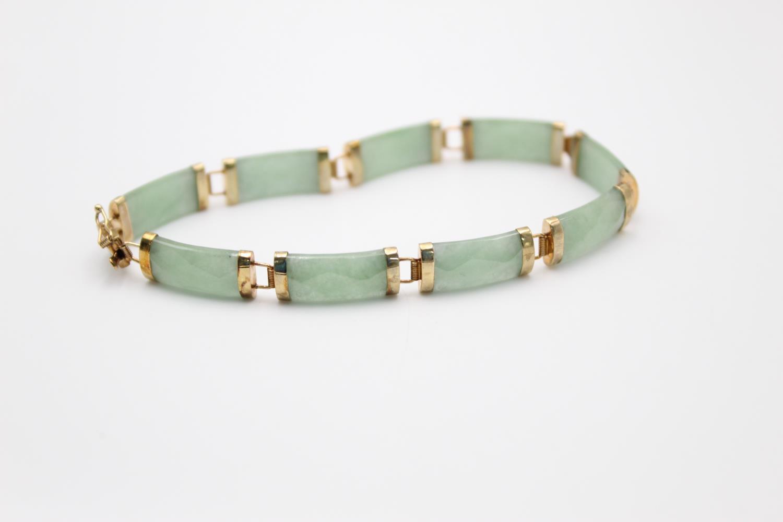 9ct gold Chinese jade panel bracelet 9.2g - Image 2 of 4