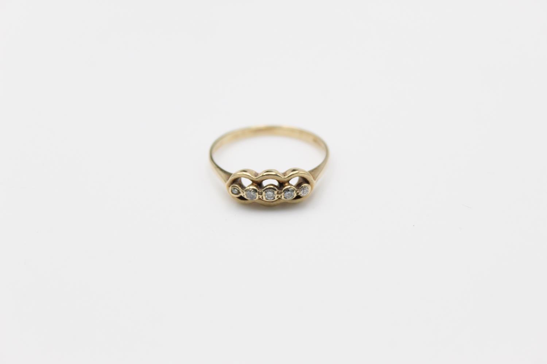Vintage 9ct Gold fancy five stone diamond detail ring 2.1g Size P