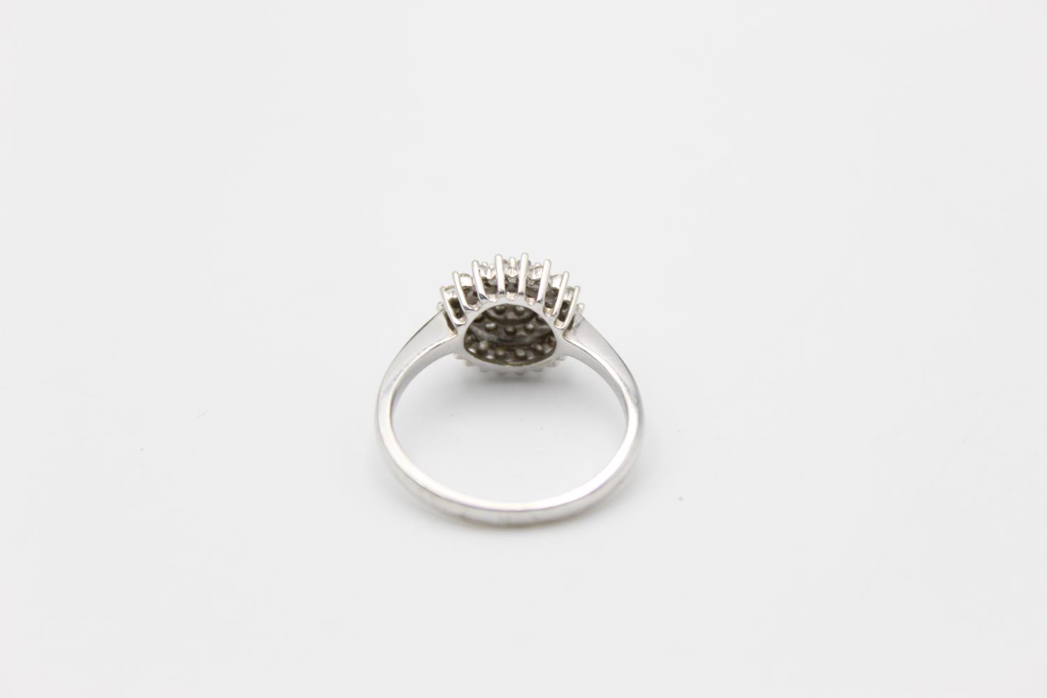 9ct white gold diamond cluster ring 3.4g Size P - Image 3 of 5