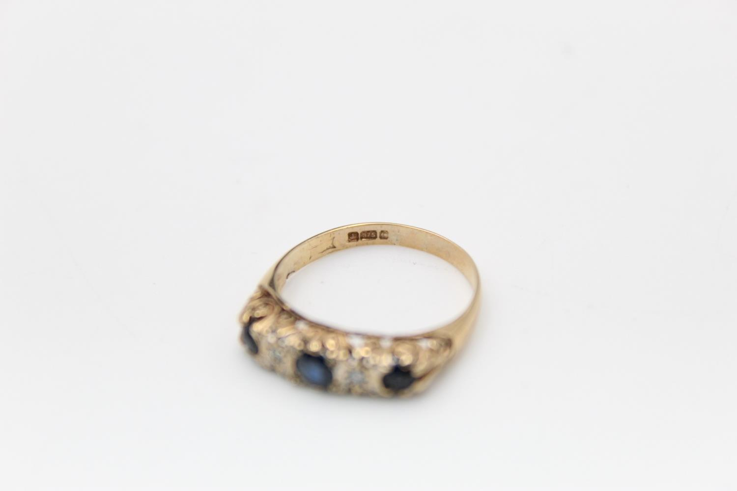 9ct Gold sapphire & diamond gypsy ring 1.8g Size M - Image 4 of 4