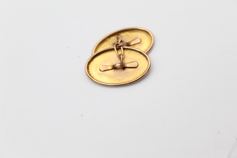 antique hallmarked 1811 9ct gold hand etched icy lef design cufflink 2.3g - Image 4 of 4