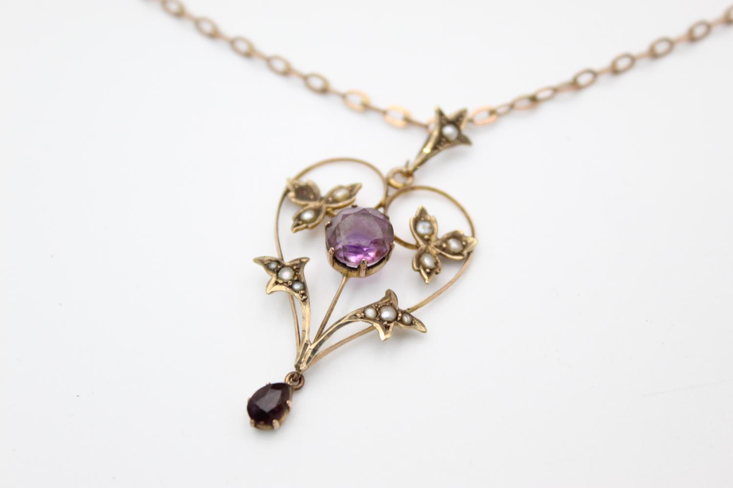 Antique 9ct Gold amethyst & seed pearl pendant necklace *one seed pearl missing 3.7g - Image 3 of 5