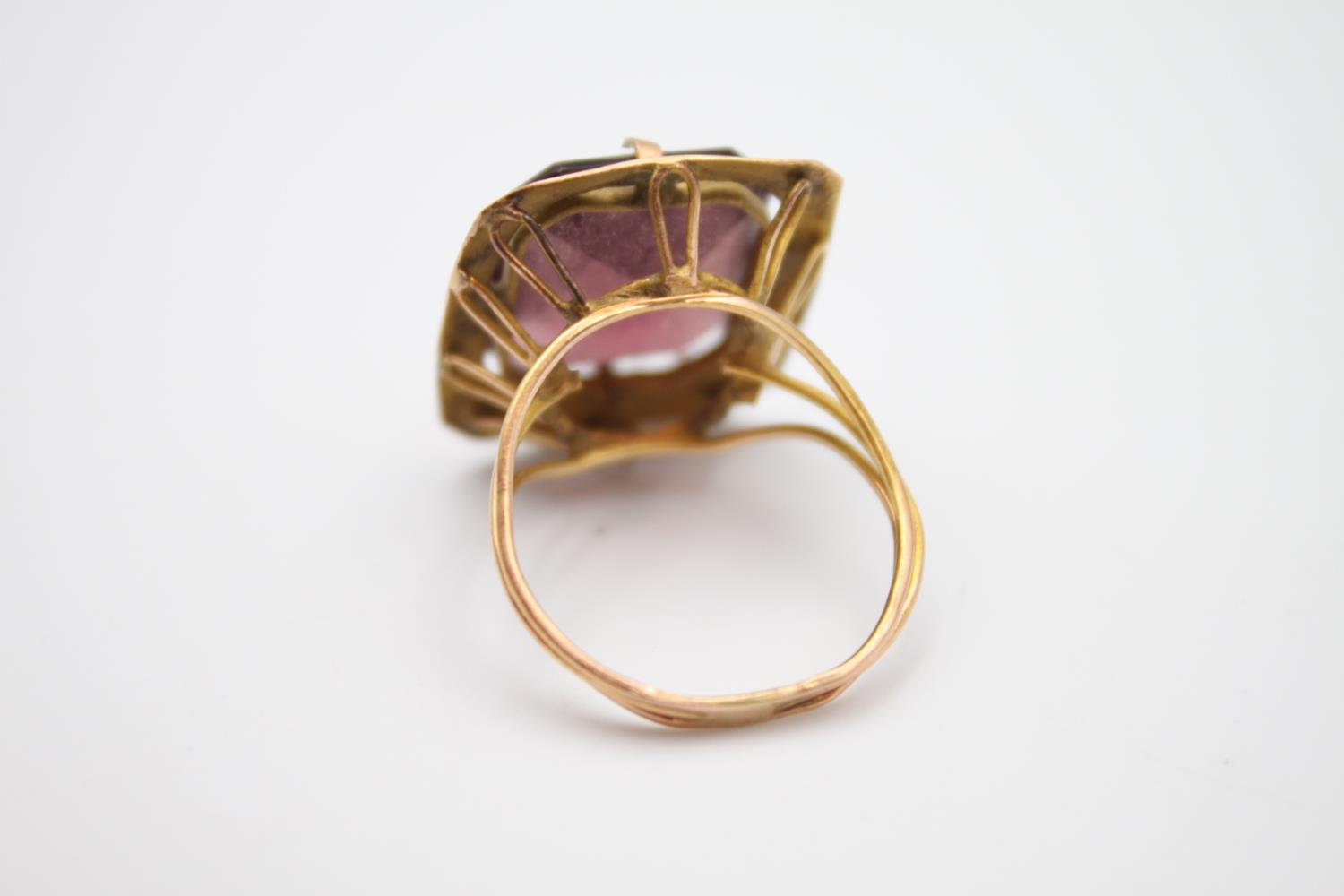 15ct rose gold amethyst paste cocktail ring 5.4g Size P - Image 3 of 5