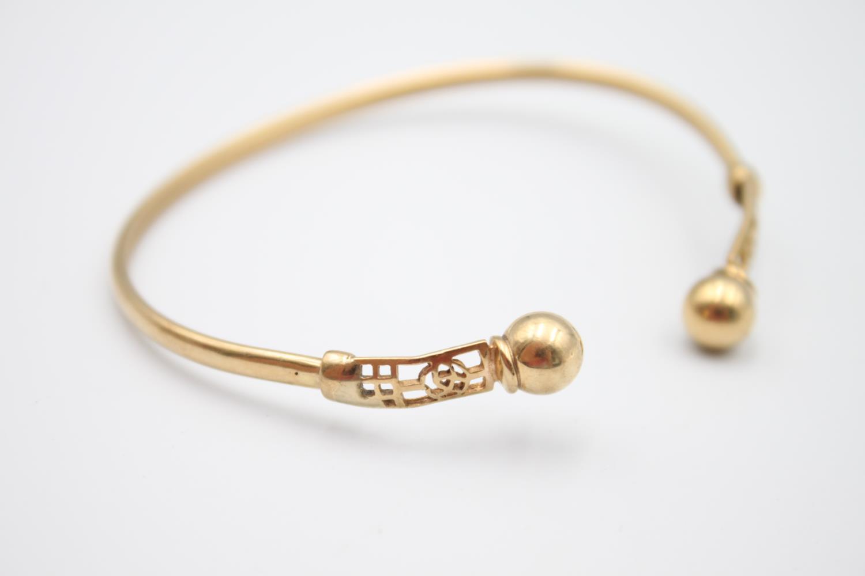9ct gold Celtic rose design torque bangle 5.8g - Image 3 of 4