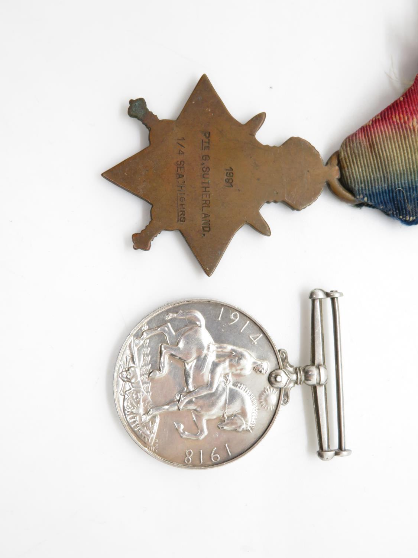 WW1 mons star + war medal named 1981 private g. sutherland sea forth highlander - Image 2 of 2