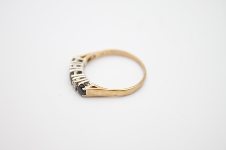 vintage 9ct gold diamond & sapphire 5 stone ring 2g Size P - Image 2 of 6