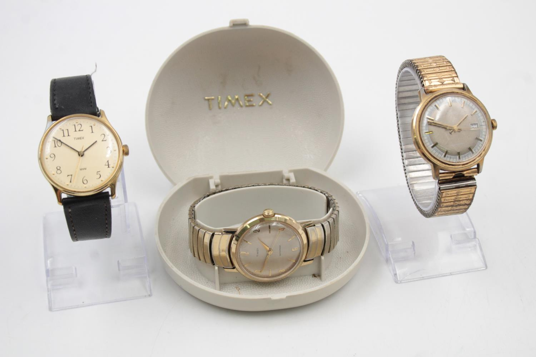 3 x Vintage Gents TIMEX Gold Tone WRISTWATCHES Hand-Wind WORKING