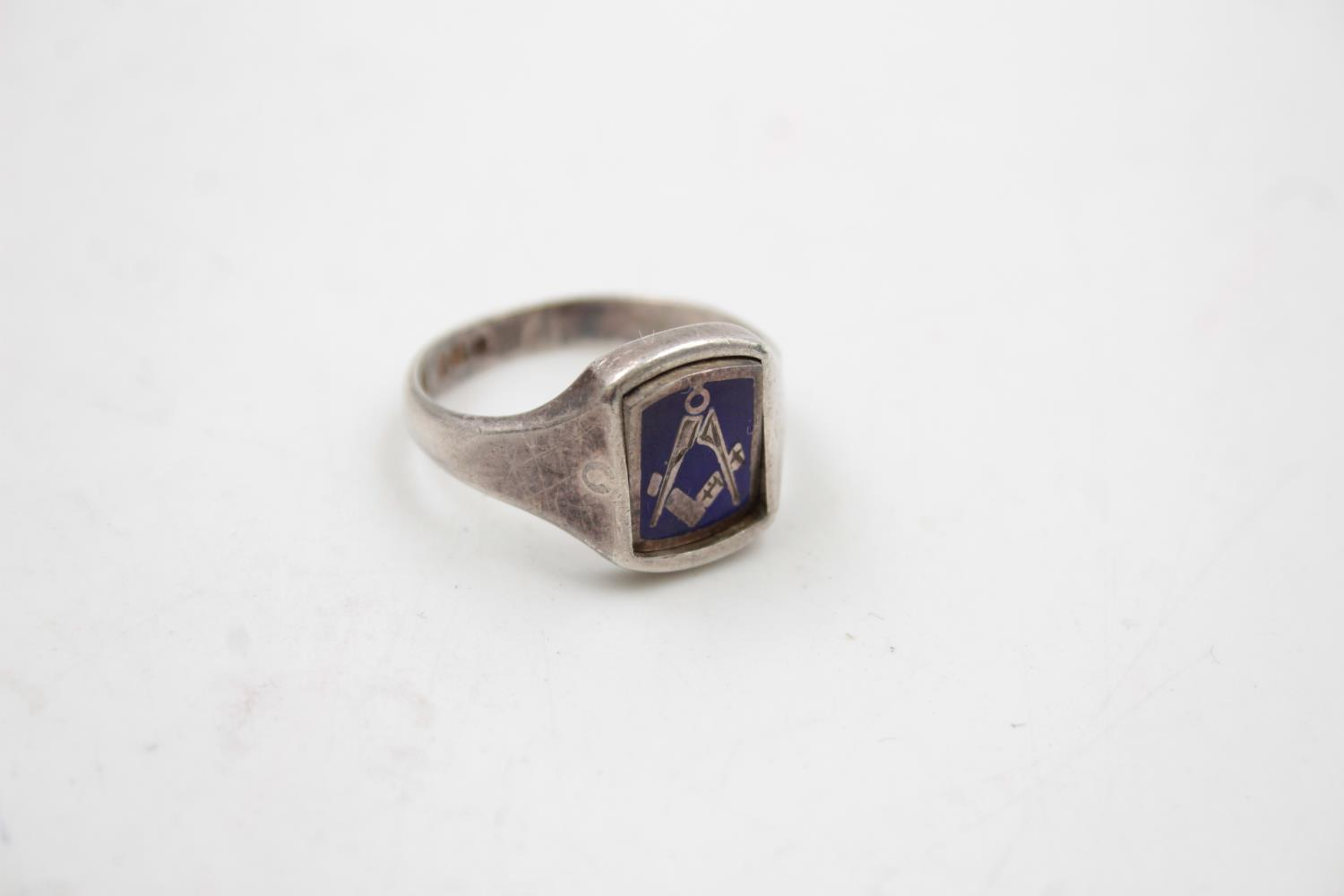 2 x Vintage Gents Stamped .925 STERLING SILVER Masonic Rings Boxed (18g) - Image 3 of 9