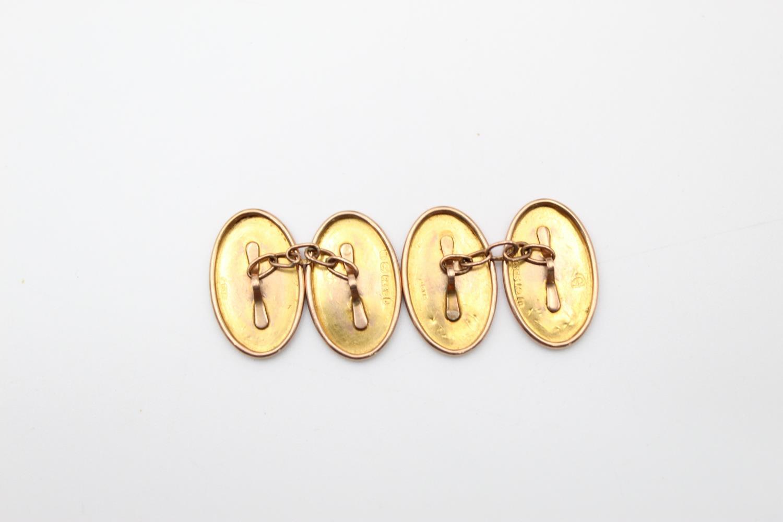 antique hallmarked 1811 9ct gold hand etched icy lef design cufflink 2.3g - Image 2 of 4