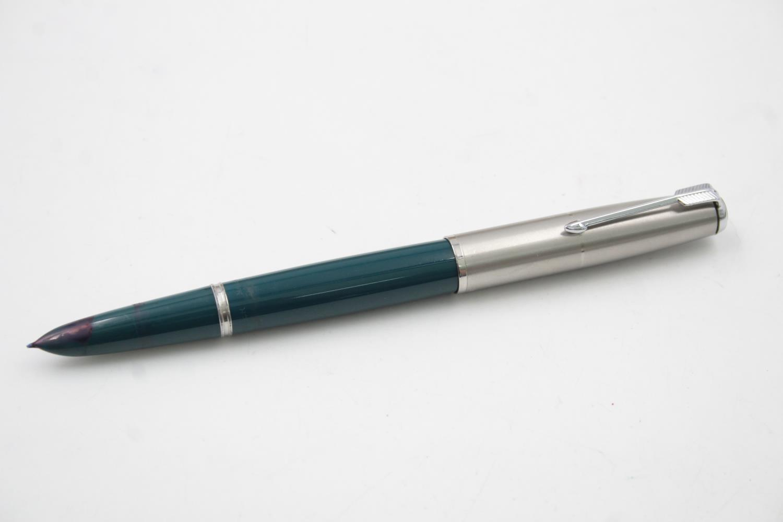 Vintage PARKER 51 Teal FOUNTAIN PEN w/ Brushed Steel Cap, Pencil, Original Box - Image 2 of 12