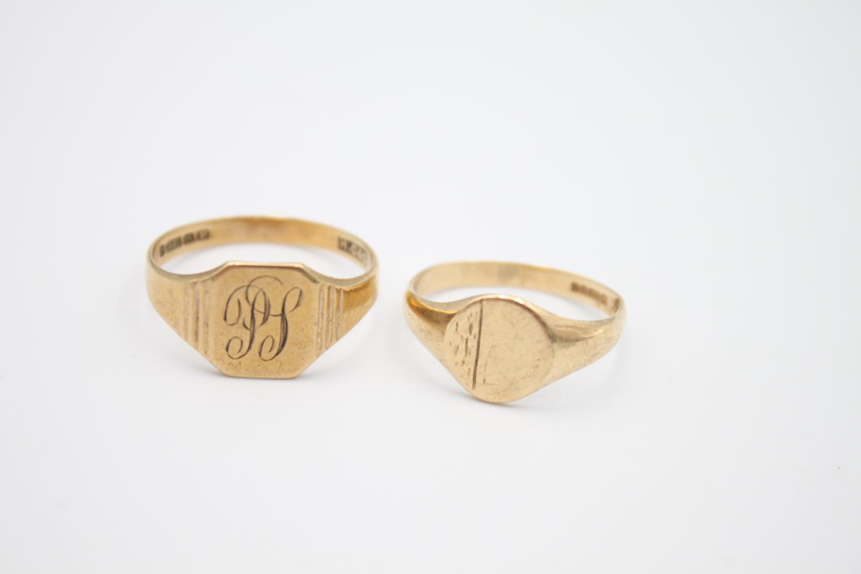 2 x vintage 9ct gold engraved signet rings 5.1g Size U & N