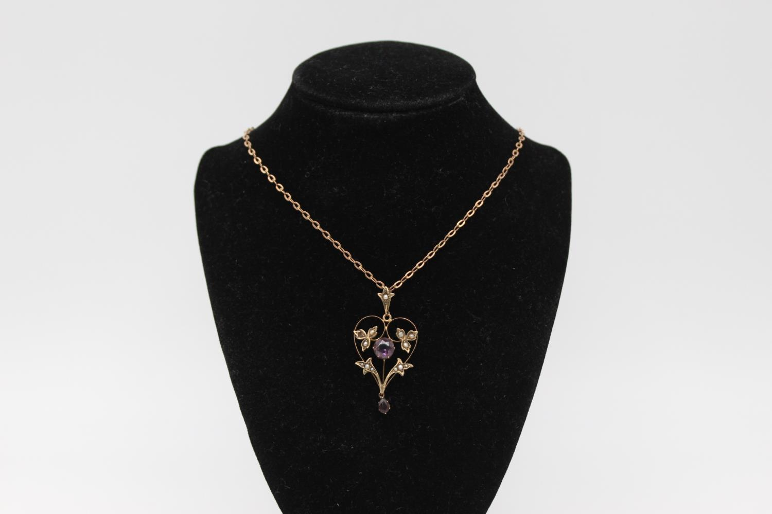 Antique 9ct Gold amethyst & seed pearl pendant necklace *one seed pearl missing 3.7g