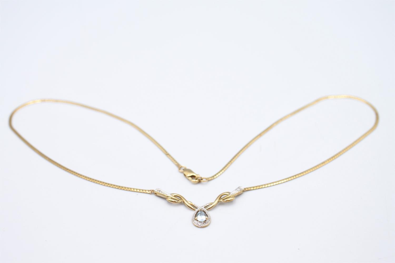 9ct gold diamond & blue gemstone static pendant necklace 5.7g