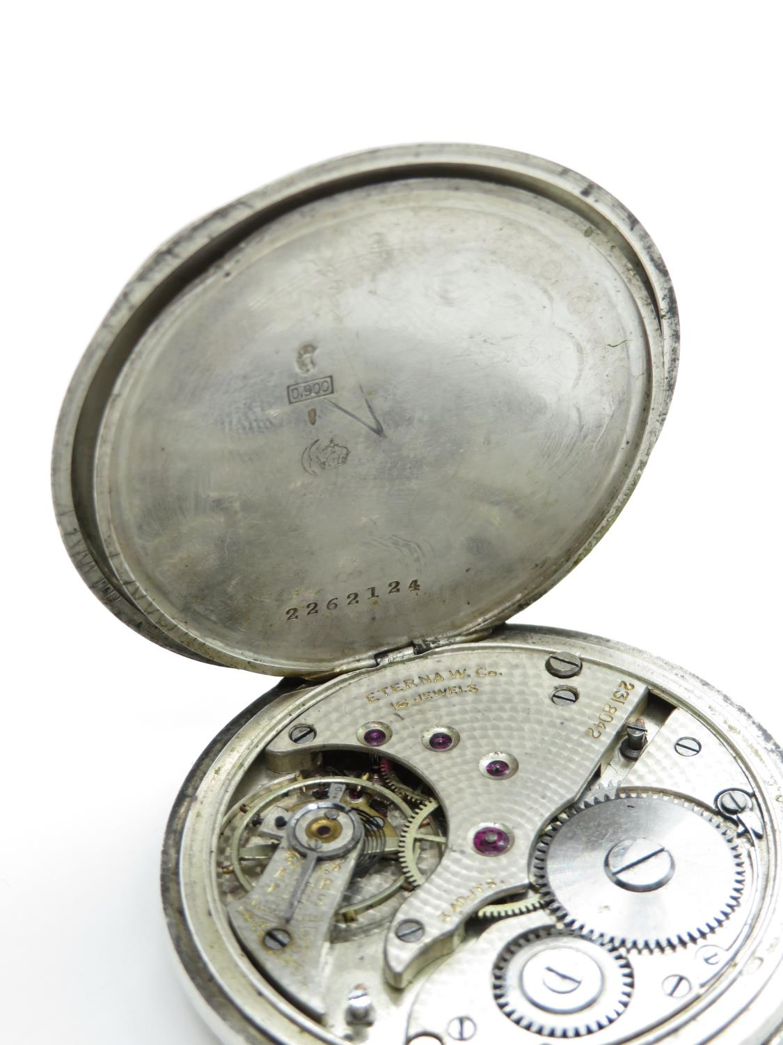 900 silver cased eterna gents vintage open face pocket watch hand wind / 16 jewels - Image 6 of 7