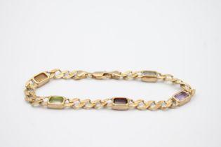 9ct gold mutli-gem bracelet with amethyst, garnet and citrine 8.8g