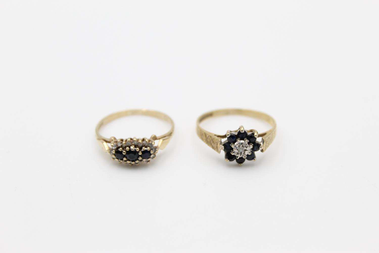 2 x 9ct gold diamond & sapphire rings inc cluster 2.8g Size K & L