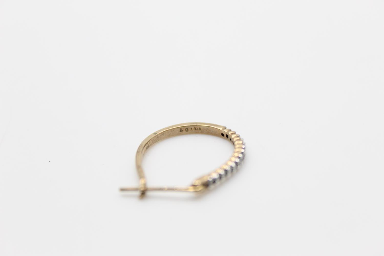 2 x 9ct gold diamond earrings inc pearl, hoops 3.9g - Image 8 of 9