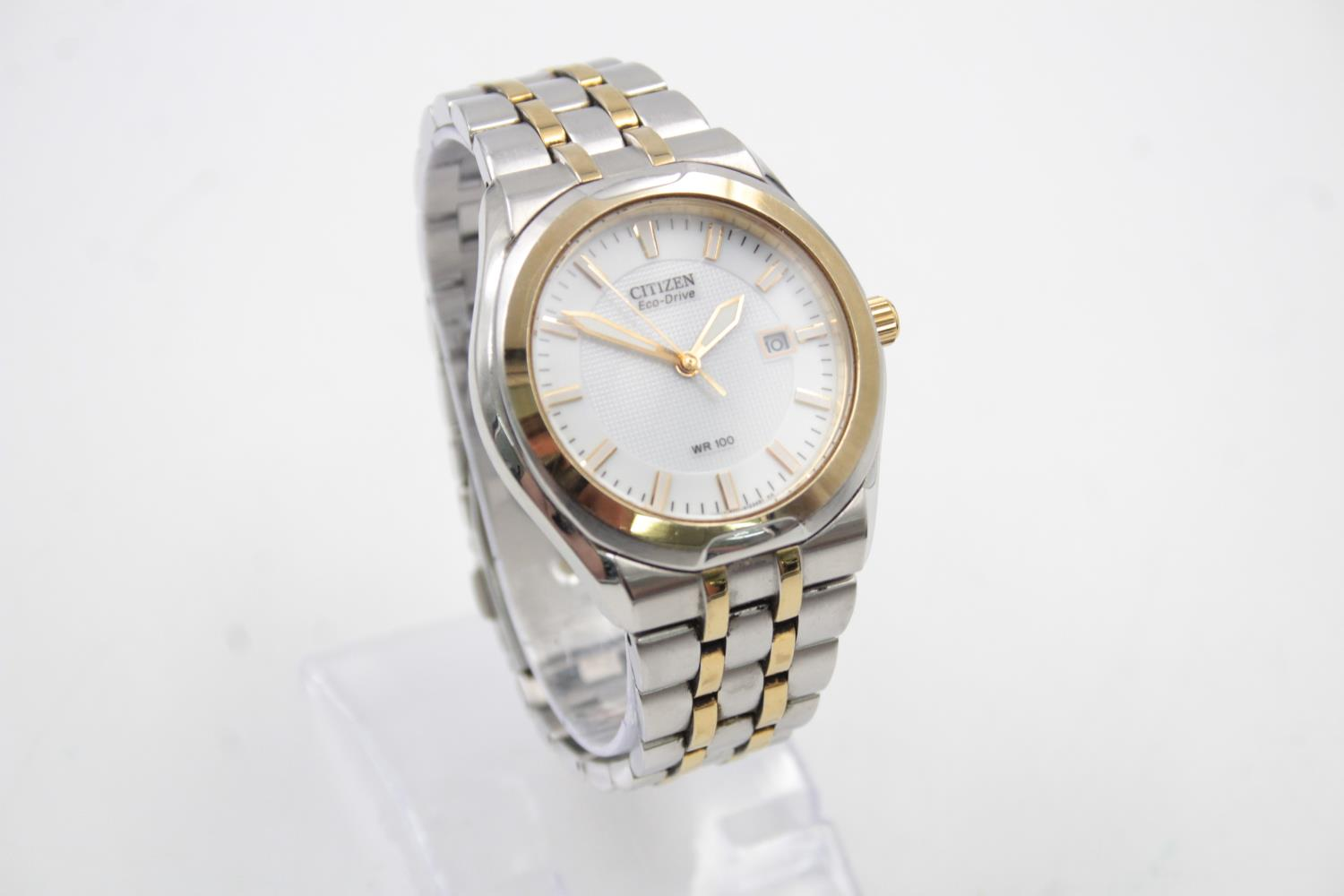 Gents CITIZEN Eco-Drive WR100 Two Tone WRISTWATCH WORKING in Original Box - Image 2 of 7