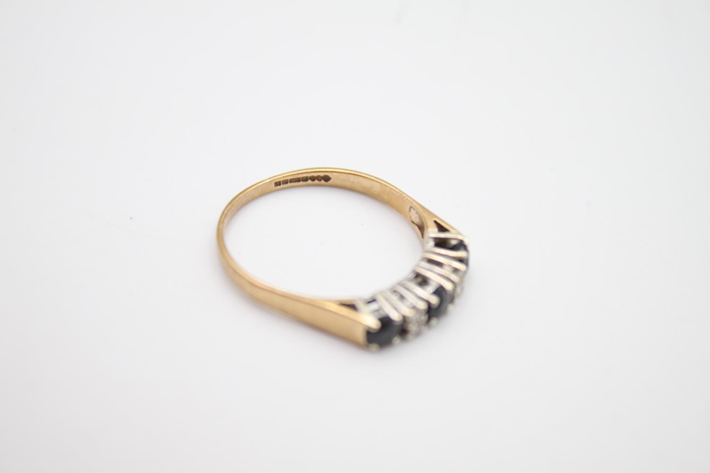 vintage 9ct gold diamond & sapphire 5 stone ring 2g Size P - Image 5 of 6