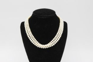 9ct Gold clasp pearl multi strand choker necklace 40.2g