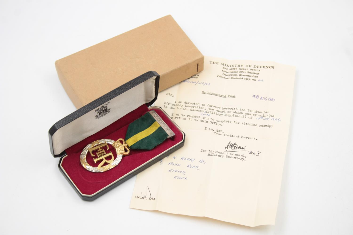 Boxed ERII Officers Territorial Decoration Dated 1966 w/ Award Letter