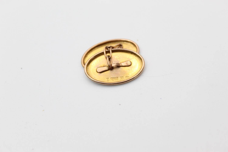 antique hallmarked 1811 9ct gold hand etched icy lef design cufflink 2.3g - Image 3 of 4