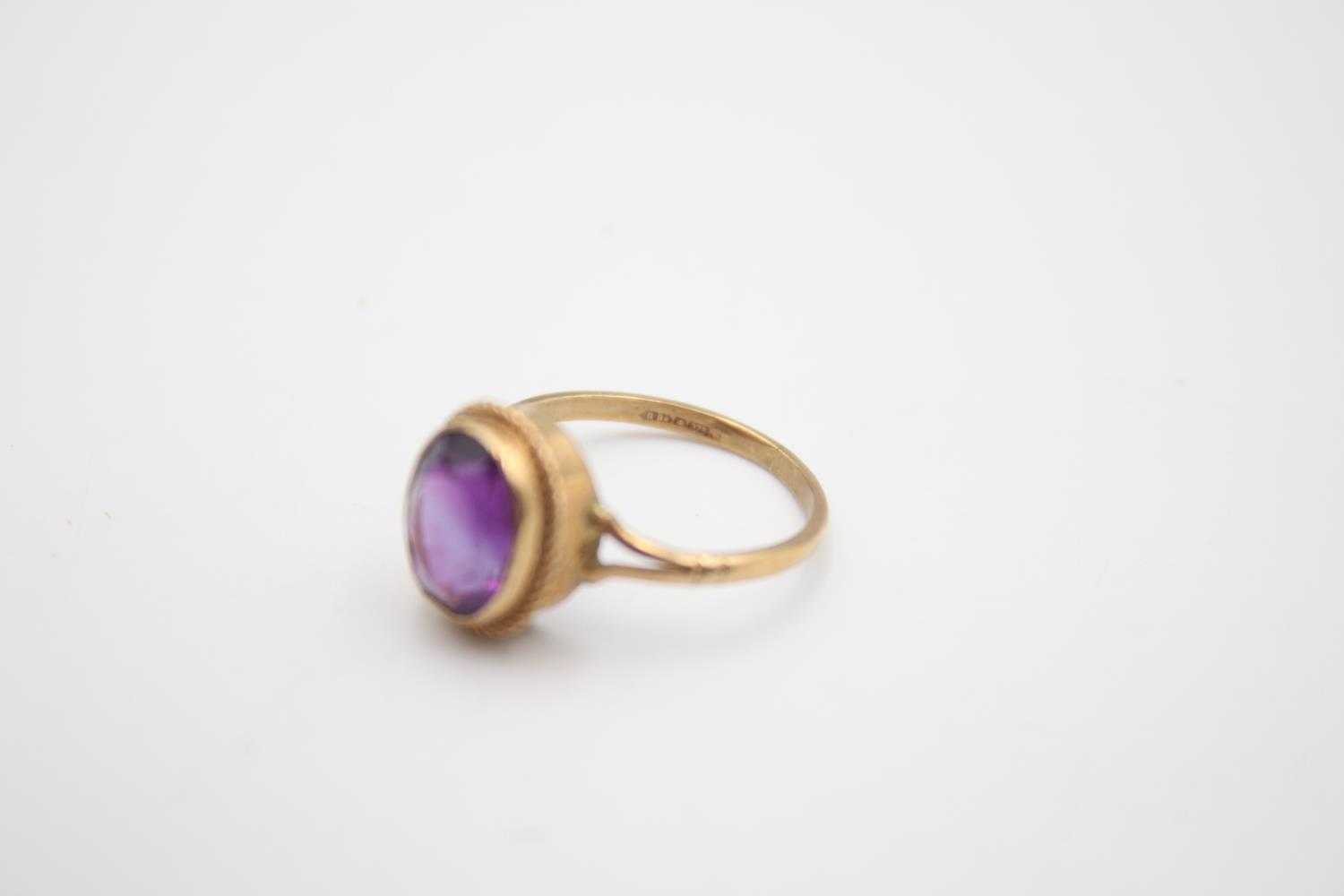 2 x 9ct gold amethyst rings inc modernist, solitaire 4.6g Size L & N - Image 6 of 6