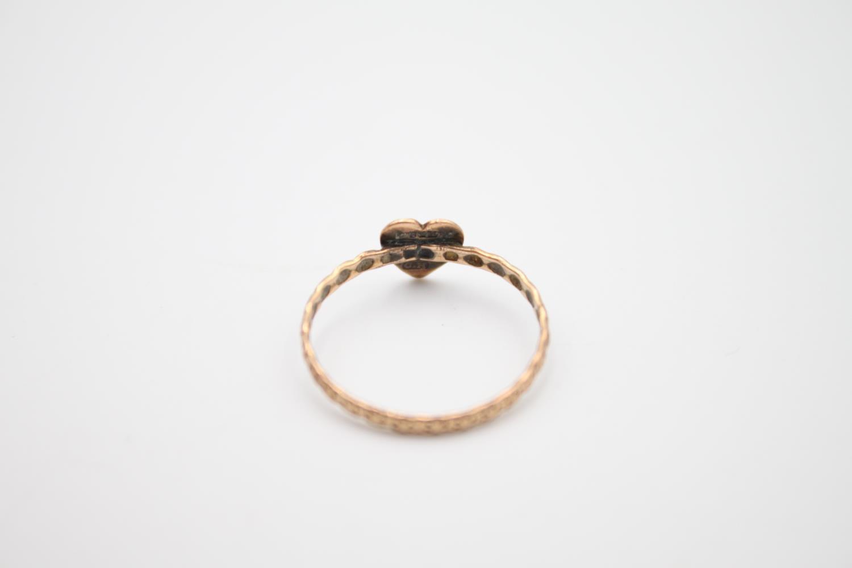vintage 9ct rose gold ornate heart motif ring, missing stone 0.8g Size L - Image 3 of 4