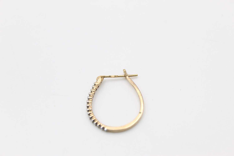 2 x 9ct gold diamond earrings inc pearl, hoops 3.9g - Image 9 of 9