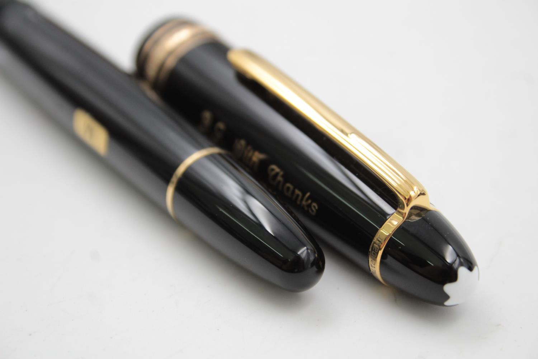 MONTBLANC Meisterstuck Black FOUNTAIN PEN w/ 14ct White Gold Nib WRITING - Image 7 of 9