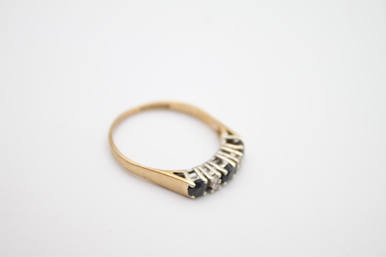 vintage 9ct gold diamond & sapphire 5 stone ring 2g Size P - Image 6 of 6