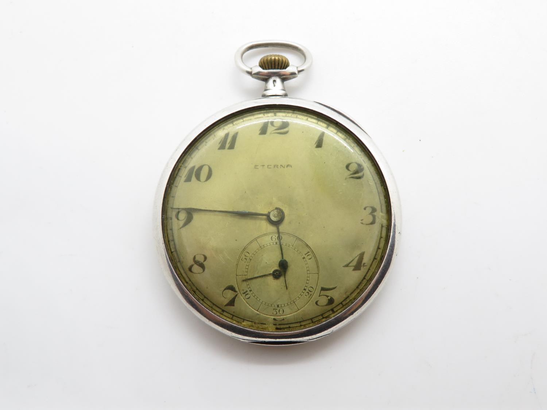 900 silver cased eterna gents vintage open face pocket watch hand wind / 16 jewels