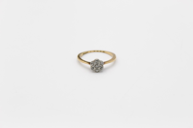 18ct Gold & platinum diamond cluster ring 1.7g Size K
