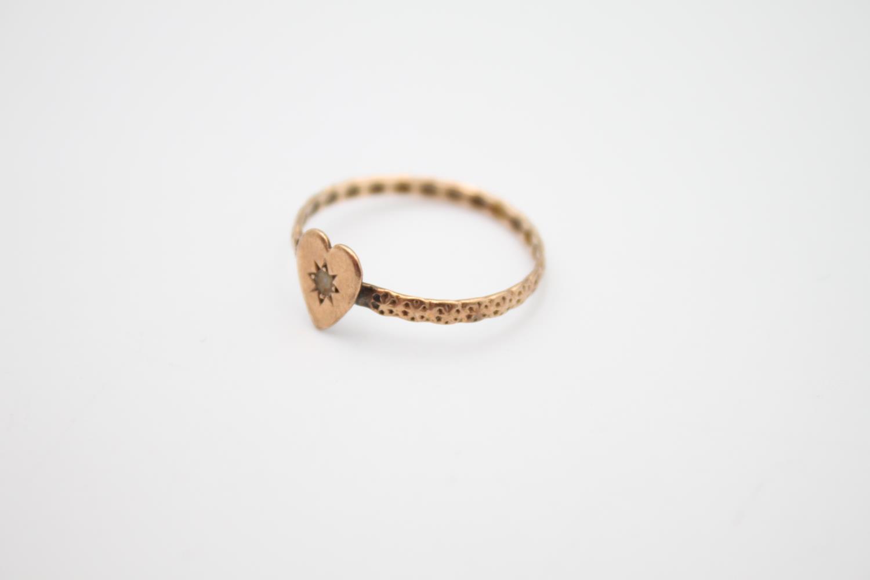 vintage 9ct rose gold ornate heart motif ring, missing stone 0.8g Size L - Image 2 of 4