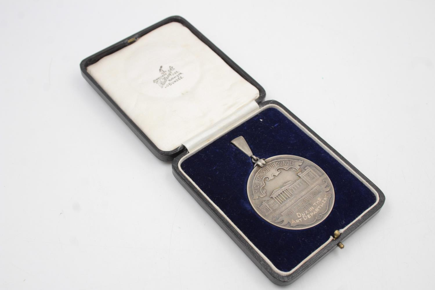 Vintage .925 STERLING SILVER Dundee High School Dott Memorial Medal Boxed (57g)