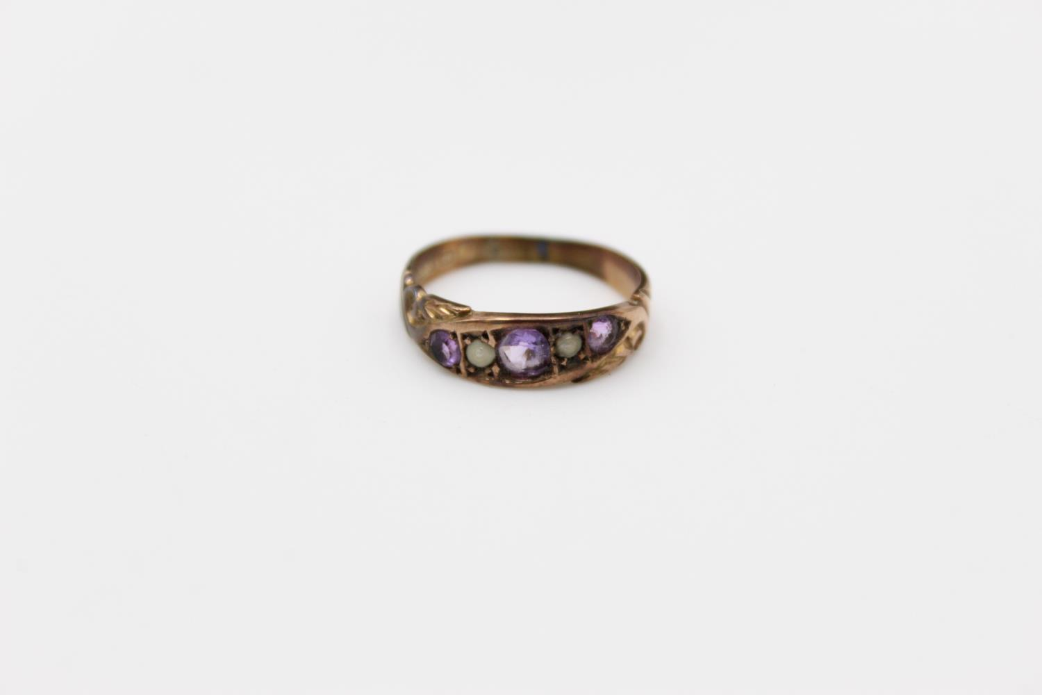 antique 9ct gold amethyst & seed pearl ring 2.2g Size M