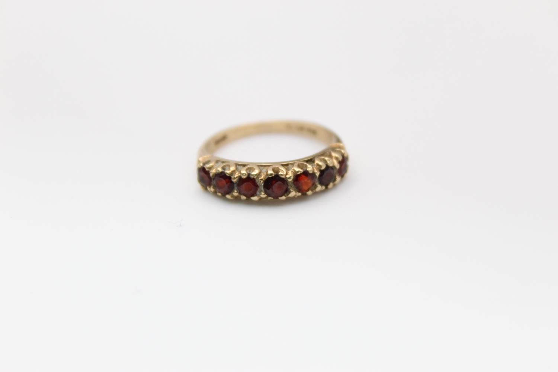2 x 9ct Gold gemstone rings inc. garnet, five stone 4.7g Size M & L - Image 2 of 10