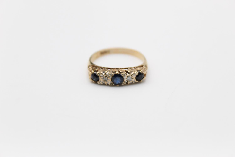 9ct Gold sapphire & diamond gypsy ring 1.8g Size M