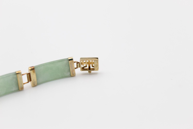 9ct gold Chinese jade panel bracelet 9.2g - Image 4 of 4