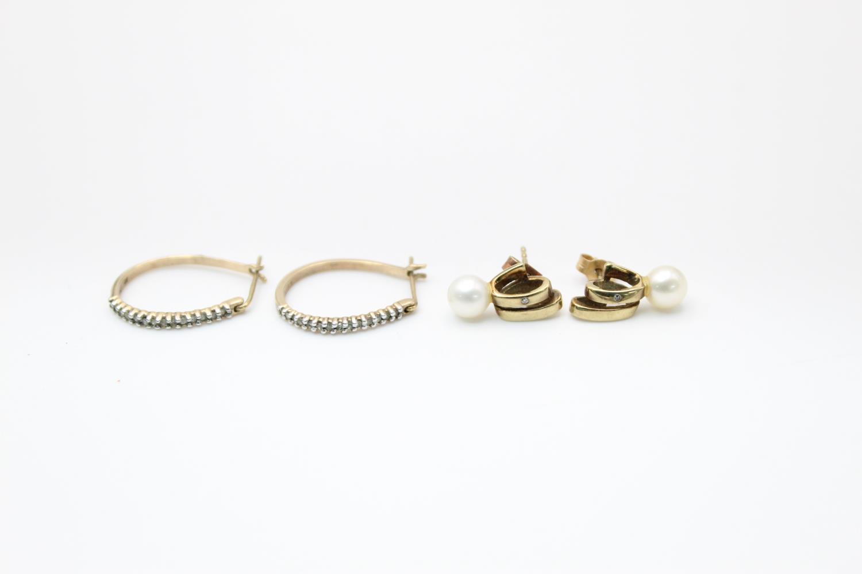 2 x 9ct gold diamond earrings inc pearl, hoops 3.9g