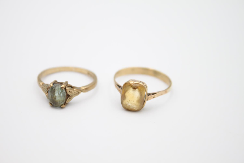 2 x vintage 9ct gold stone set rings inc citrine 3.2g Size K & M