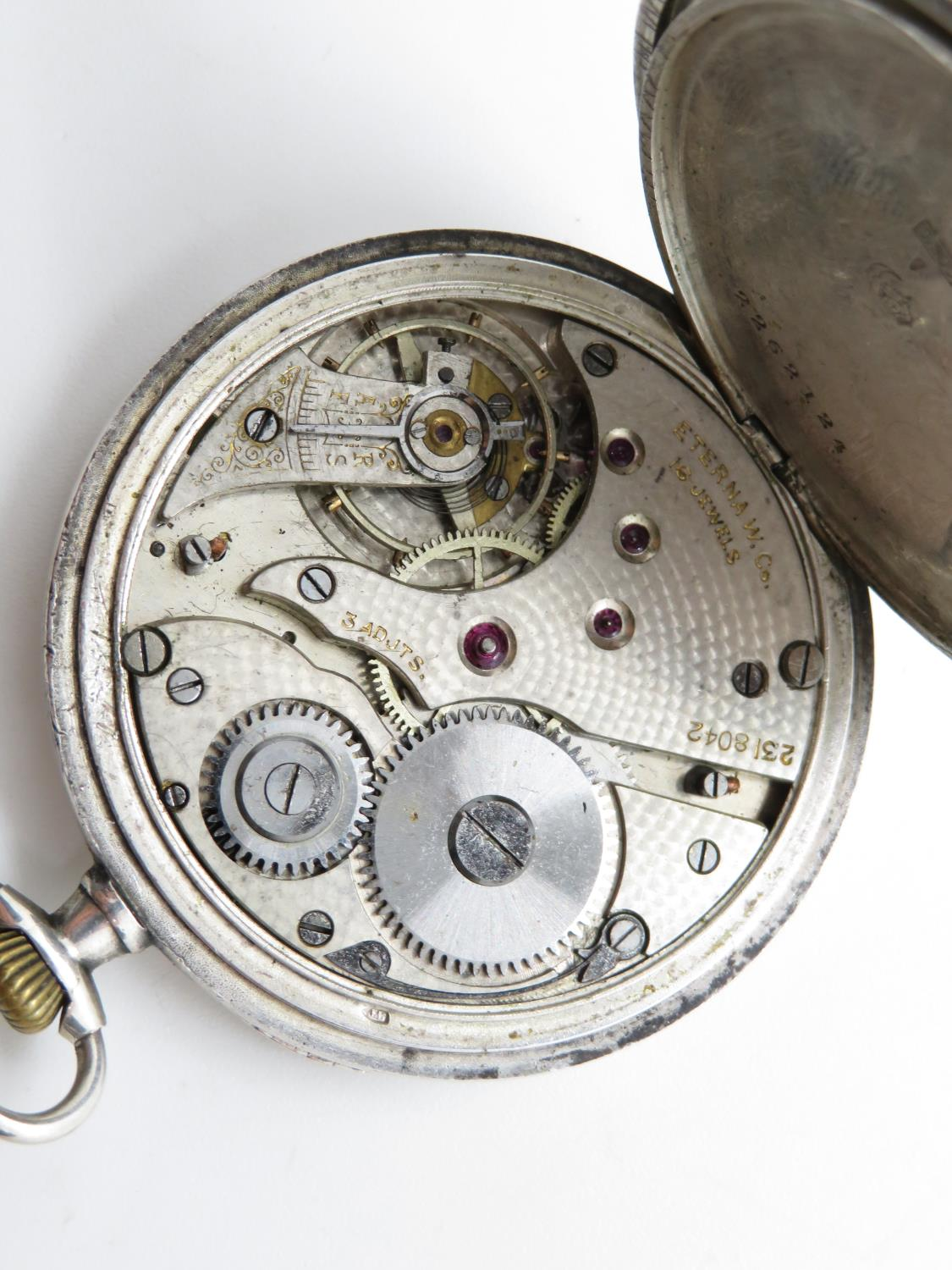 900 silver cased eterna gents vintage open face pocket watch hand wind / 16 jewels - Image 7 of 7