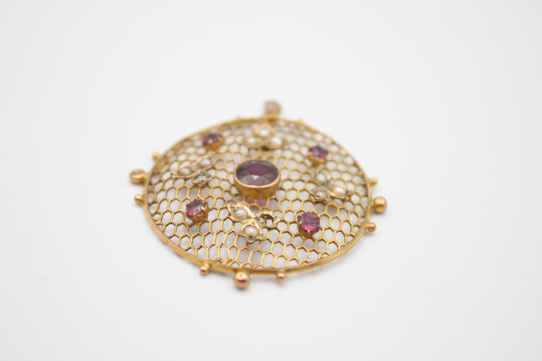 antique 9ct gold pendants inc. pearl, garnet 4.8g - Image 3 of 5