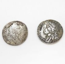 William II shilling 1696 and 1745 shilling